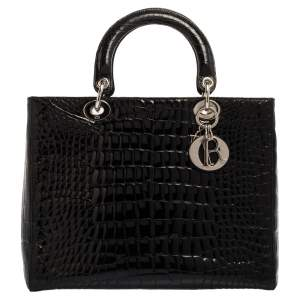 Dior Black Alligator Large Lady Dior Tote