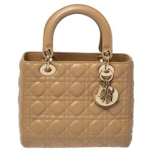 Dior Beige Cannage Leather Medium Lady Dior Tote
