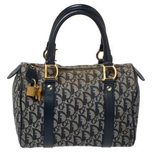 Dior Navy Blue Oblique Canvas and Leather Small Trotter Boston Bag