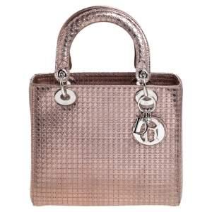 Dior Metallic Rose Gold Microcannage Leather Medium Lady Dior Tote