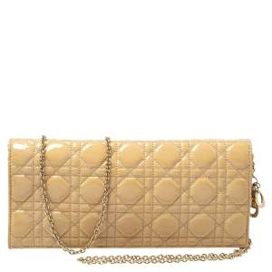 Dior Beige Cannage Patent Leather  Lady Dior Chain Clutch