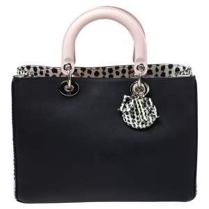 Dior Black/Pink Leather and Snakeskin Medium Diorissimo Shopper Tote