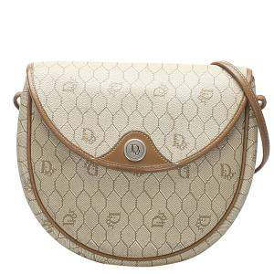 Christian Dior Brown Canvas Honeycomb Bag