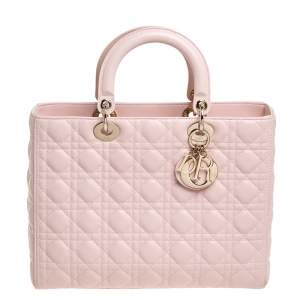 Dior Light Pink Cannage Quilted Leather Large Lady Dior Tote