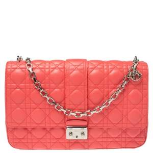 Dior Coral Red Cannage Quilted Leather Large Miss Dior Flap Bag