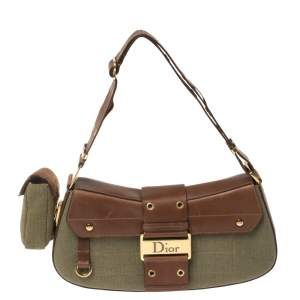 Dior Brown/Olive Green Canvas and Leather Street Chic Columbus Avenue Shoulder Bag