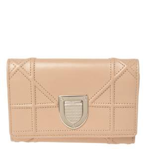 Dior Beige Leather Diorama Trifold Wallet