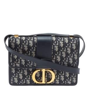 Dior Blue Oblique Canvas and Leather 30 Montaigne Shoulder Bag