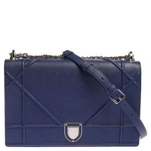 Dior Blue Leather Large Diorama Flap Shoulder Bag
