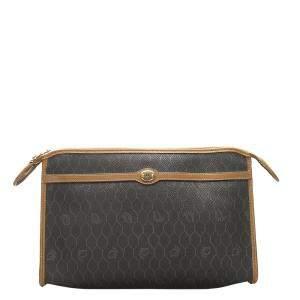 Dior Brown and Black PVC Honeycomb Clutch
