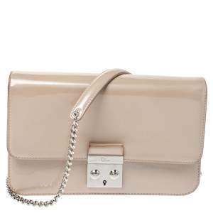 Dior Beige Patent Leather Miss Dior Promenade Chain Pouch