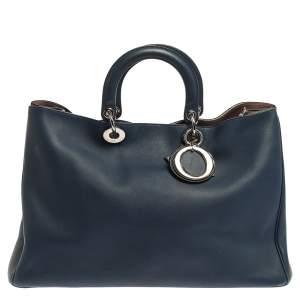 Dior Blue Leather Extra Large Diorissimo Shopper Tote