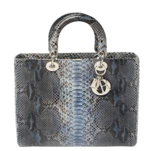 Dior Blue Python Large Lady Dior Tote
