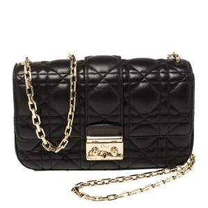 Dior Black Cannage Leather Small Miss Dior Flap Bag