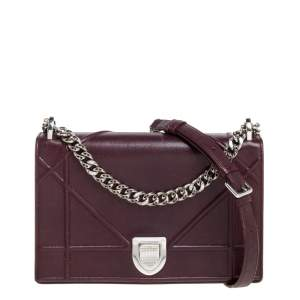 Dior Burgundy Leather Medium Diorama Flap Shoulder Bag