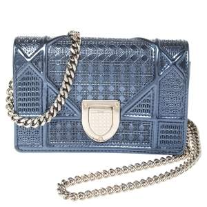 Dior Blue Micro Cannage Patent Leather Baby Diorama Crossbody Bag