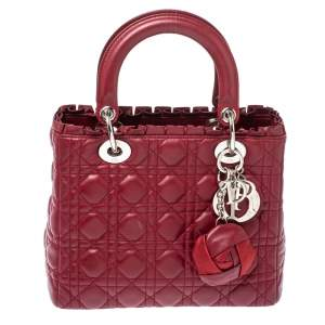 Dior Wine Red Cannage Leather Medium Lady Dior Ruffle Tote