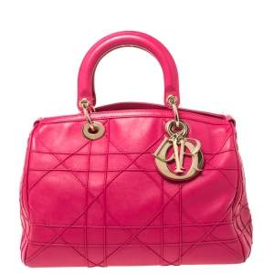 Dior Fuchsia Cannage Leather Granville Polochon Satchel