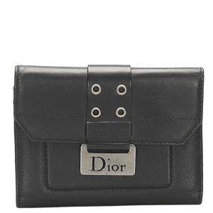 Dior Black Leather Diorling Compact Wallet