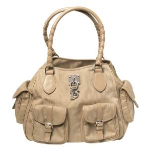 Dior Beige Oblique Canvas and Leather Multi Pocket Tote