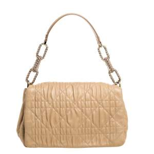Dior Beige Cannage Quilted Leather Large Flap Shoulder Bag