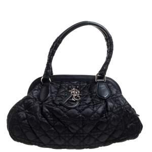 Dior Black Cannage Nylon and Leather Charming Doctor Bag