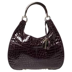 Dior Purple Croc Embossed Patent Leather 61 Tote