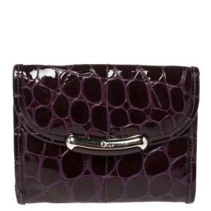 Dior Purple Croc Patent Leather Compact French Wallet