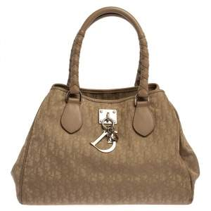 Dior Beige Oblique Nylon and Leather Lovely Tote