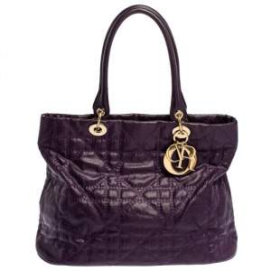 Dior Purple Cannage Quilted Coated Canvas and Leather Lady Dior Tote