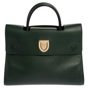 Dior Green Leather Medium Diorever Bag