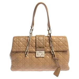 Dior Beige Cannage Leather Lock Flap Satchel
