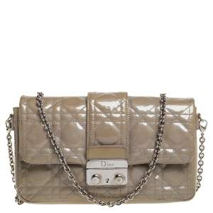 Dior Beige Cannage Patent Leather Miss Dior Promenade Clutch Bag