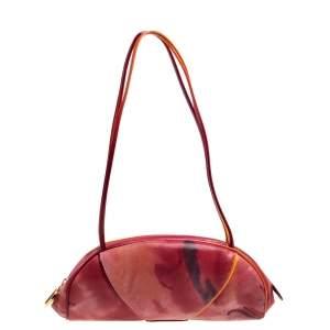 Dior Red/Orange Printed Patent Leather Half Moon Shoulder Bag