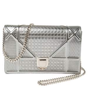 Dior Metallic Silver Micro Cannage Patent Leather Mini Diorama Chain Shoulder Bag
