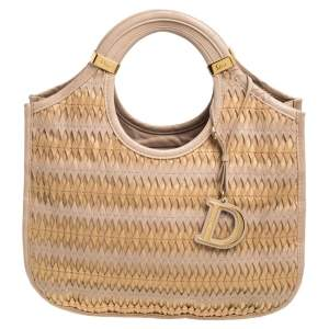Dior Beige/Gold Leather Diorita Contrast Twist Hobo