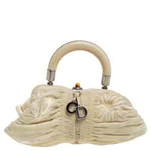 Dior Cream Velvet and Python Karenina Top Handle Bag