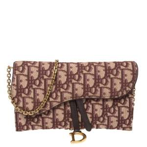 Dior Burgundy Oblique Canvas and Leather Saddle Wallet On Chain