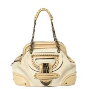 Dior Cream Nubuck and Leather Jeanne Frame Satchel