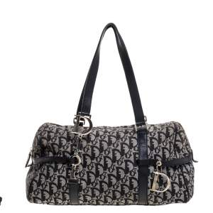Dior Black Oblique Canvas Charms Satchel