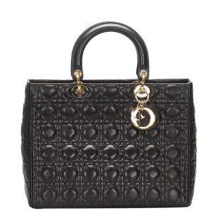 Dior Black Soft Leather Quilted Cannage Lady Dior Bag