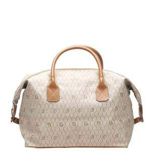 Dior Beige/Brown Honeycomb Coated Canvas Travel Bag
