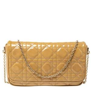 Dior Beige Patent Leather Flap Chain Clutch