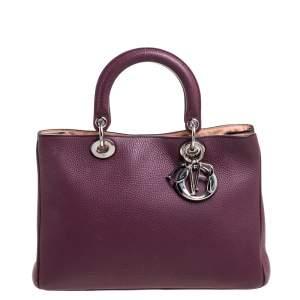 Dior Maroon Grained Leather Medium Diorissimo Shopper Tote