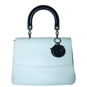 Dior White Leather Be Dior Top Handle Flap Bag