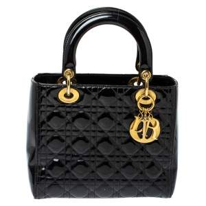 Dior Black Cannage Quilted Patent Leather Medium Lady Dior Tote