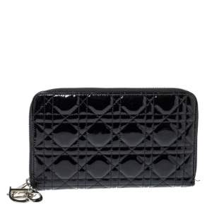 Dior Black Cannage Patent Leather Zip Around Organizer Wallet