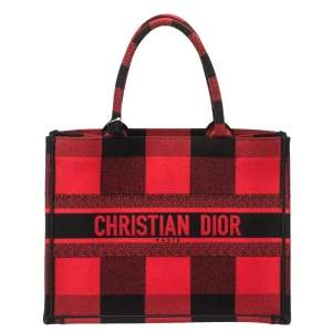 Dior Red/Black Plaid Canvas Book Tote