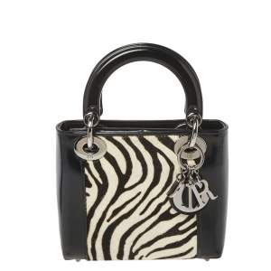 Dior Black/White Patent Leather and Calf Hair Zebra Print Vintage Mini Lady Dior Tote