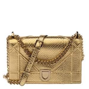 Dior Metallic Gold Python Medium Diorama Shoulder Bag
